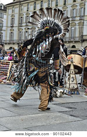 Native Americans Dancing In Street