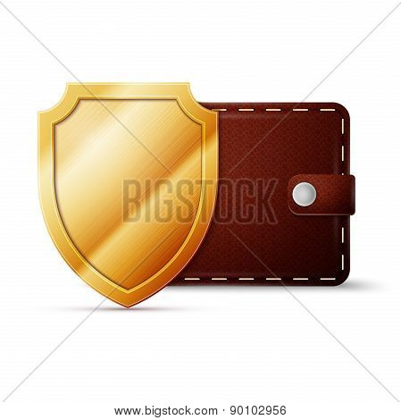 Brown Leather Wallet with shield. Money protection concept