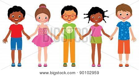Children Friends Holding Hands Isolated On White Background