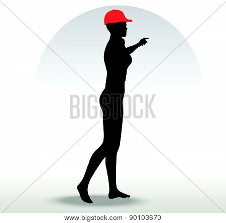 Pizza Girl Silhouette With A Red Hat