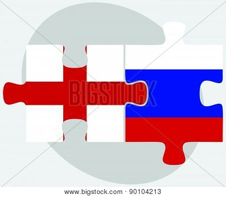 England And Russian Federation In Puzzle