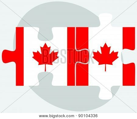 Canada And Canada Flags In Puzzle
