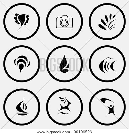 Abstract set. Black and white set raster icons.