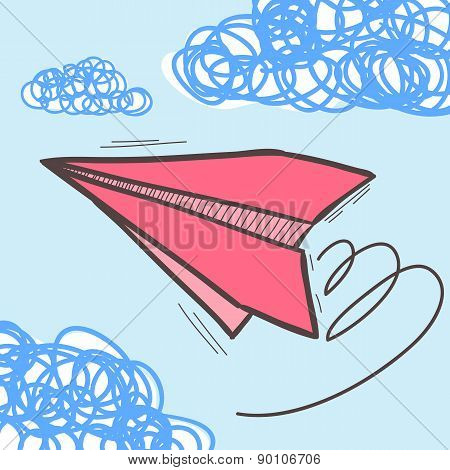 Paper airplanes on the sky with clouds. Doodle vector illustration