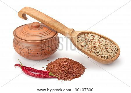 Clay Pot, Wooden Spoon With Wild Rice And Spices