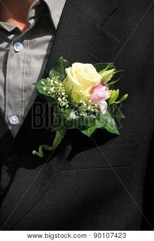 Groom Wearing Boutonniere
