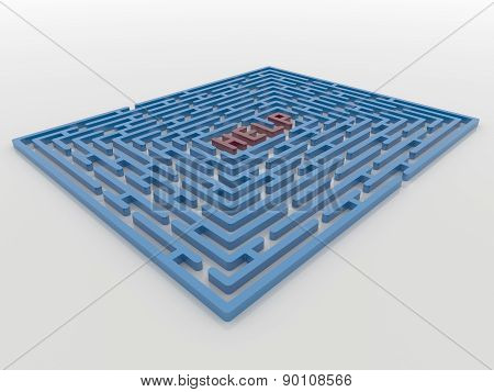 Maze Labyrinth 3D Render With Help Request