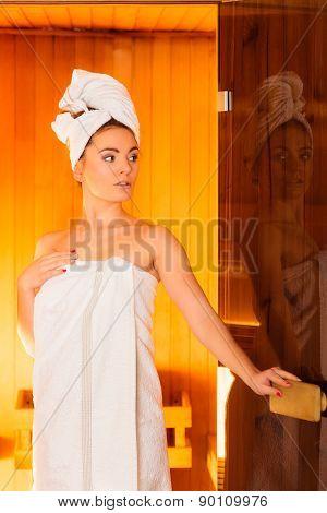 Woman White Towel In Sauna Room