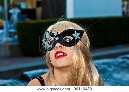 Colorful Cat Woman Girl Poses For Photografers