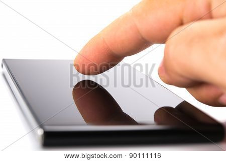 Using a smartphone, isolated on white background