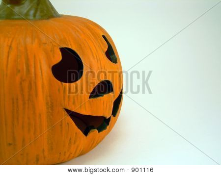 Jack O'Lantern From The Side On White