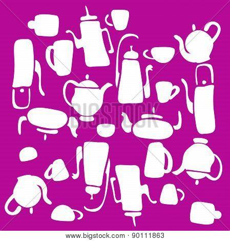 set of vector symbols kettle. teapot
