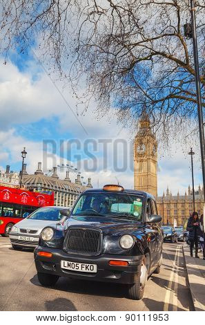 Famous Cab At The Parliament Square In London