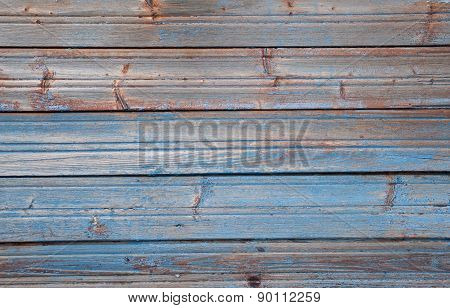 Texture Of Old Blue Fence