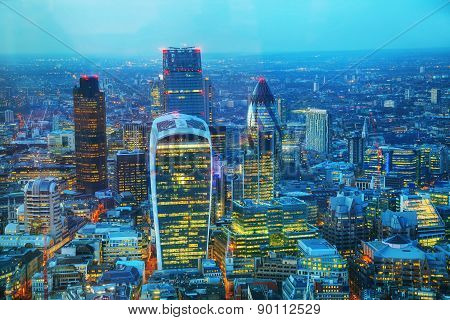 Aerial Overview Of The City Of London Financial Ddistrict
