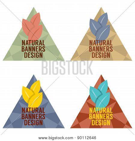 Natural Banners Design Set Vintage Style.