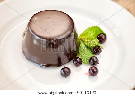 chocolate mousse dessert with currant berries