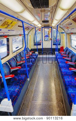 Interior Of The Underground Train Car In London