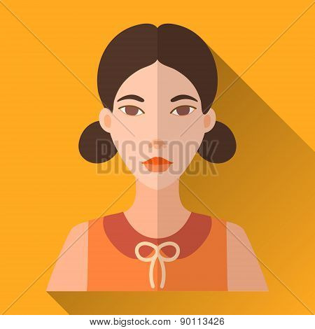 Flat style square shaped female character icon with shadow