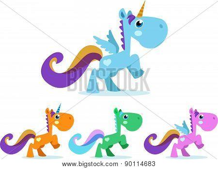 Cute unicorn winged colorful