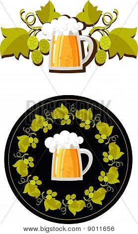 beer mug and hops