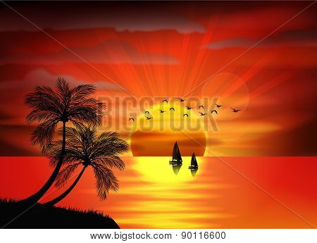 Photo of sunrise on sea and sea boat