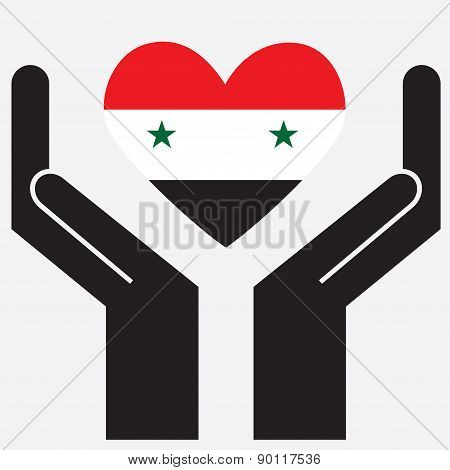 Hand showing Syria flag in a heart shape.