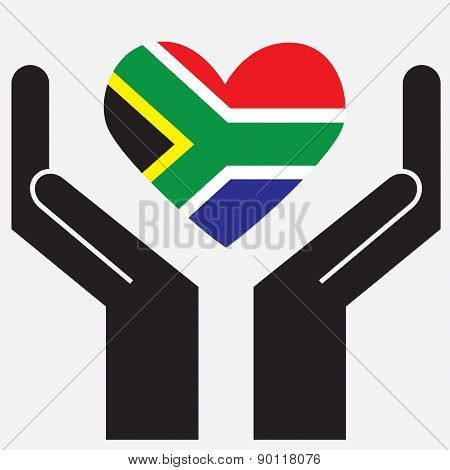 Hand showing South Africa flag in a heart shape.