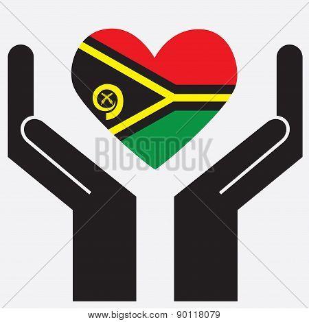 Hand showing Vanuatu flag in a heart shape.