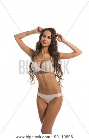Image of charming underwear model with big bust
