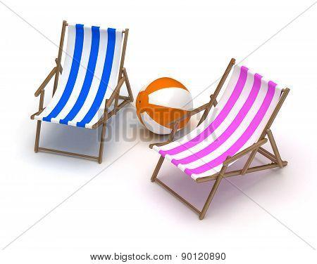 Beach Chairs And Beach Ball