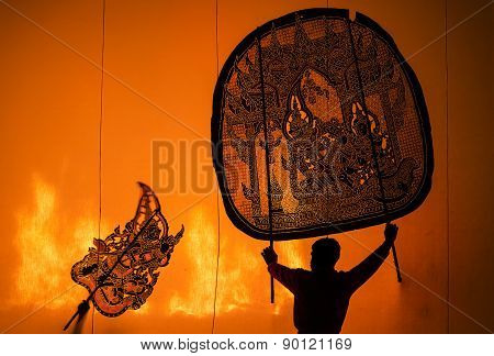 Ratchburi, Thailand - April 13: Large Shadow Play Is Performed At Wat Khanon On April 13, 2015. Larg
