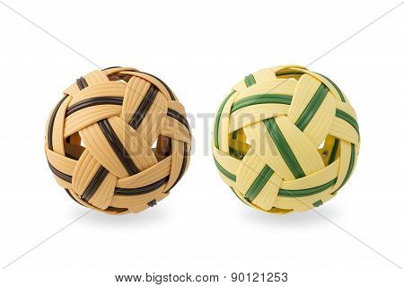 Rattan Ball For Sepak Takraw On White Isolated Background With Clipping Path.