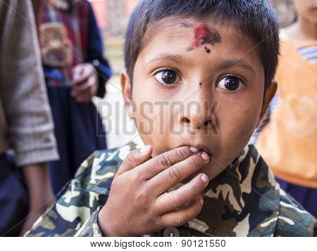 Sankhu, Nepal-oct 13 , 2012 : The Unidentified Boy Is So Excited Because It Was His First Time Seein