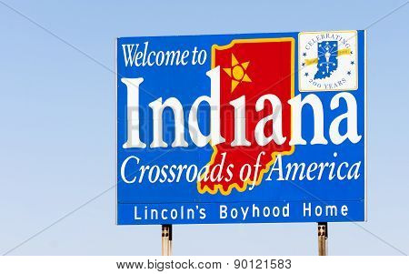 Welcome To Indiana Sign Crossroads Of America