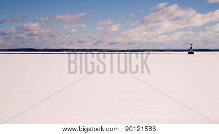 Frozen Lake Michigan Solid Ice Blue Sky Nautical Beacon
