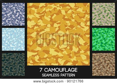 Camouflage Seamless Pattern Set