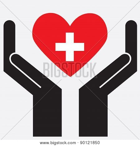 Hand showing Switzerland flag in a heart shape.