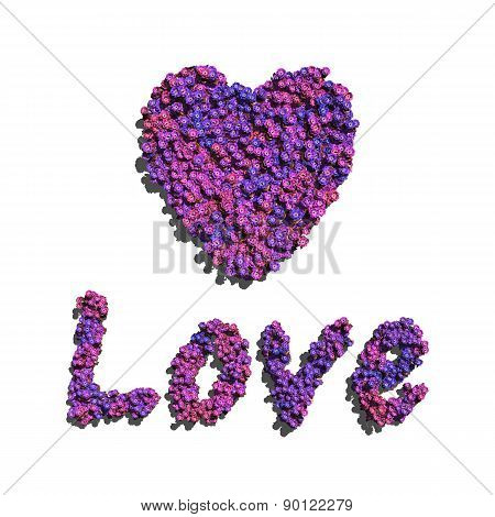 Purple Love And Heart Create By Flowers White Background
