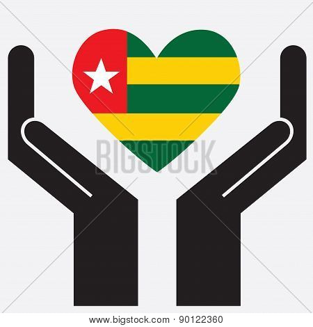 Hand showing Togo flag in a heart shape. Vector illustration.