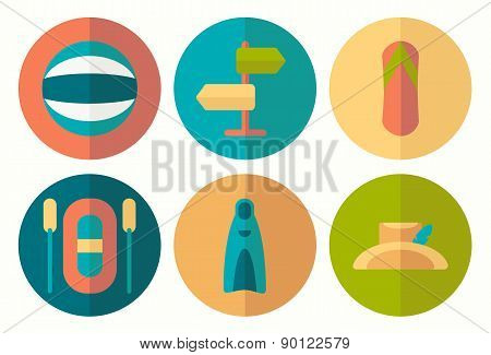 Set Of Flat Summer Icons With Half Shadow