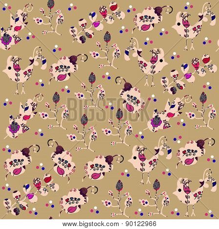 Bright Birds Seamless Pattern And Seamless Pattern In Swatch Menu, Vector Illustration