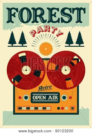 Vintage open air forest party poster. Retro typographic vector illustration.