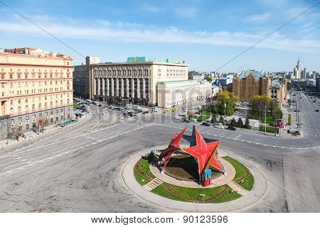 May Decoration On Lubyanka Square In Moscow