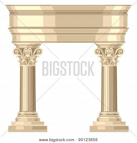 Corinthian realistic antique greek temple with columns