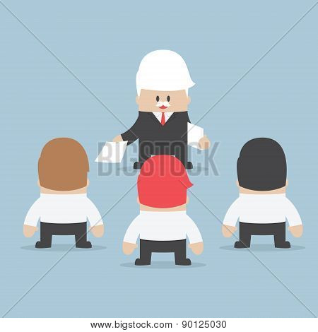 Businessman Divide Up The Work To His Employee, Delegation Concept