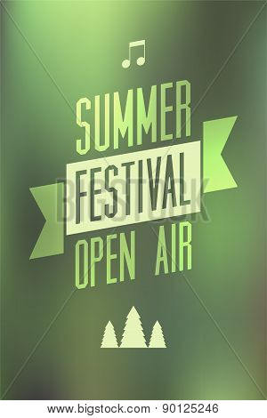 Summer festival open air poster. Typographical vector illustration with blurry background. Eps 10.