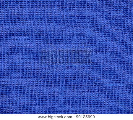 Cerulean blue color burlap texture background
