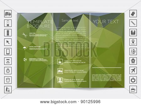 Tri-fold Brochure Mock Up Vector Design. Polygonal Background.
