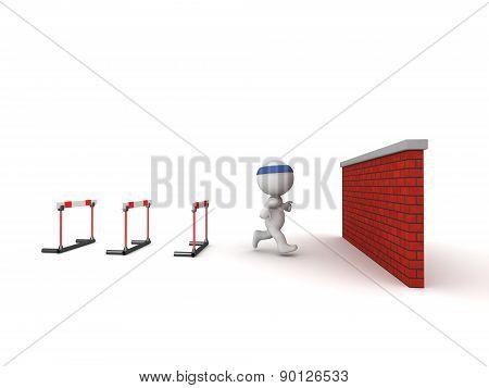 3D Character jogging toward hitting a wall